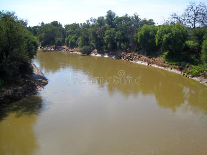 LIMPOPO RIVER ON NORTHERN BORDER OF SOUTH AFRICA. View of the Limpopo river at the Northern border between South Africa and Botswana stock photos