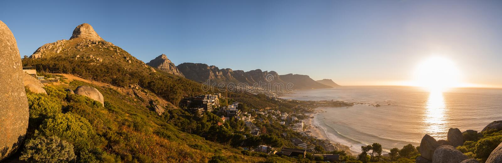 View of Lions Head and the Twelve Apostles in Cape Town stock photo