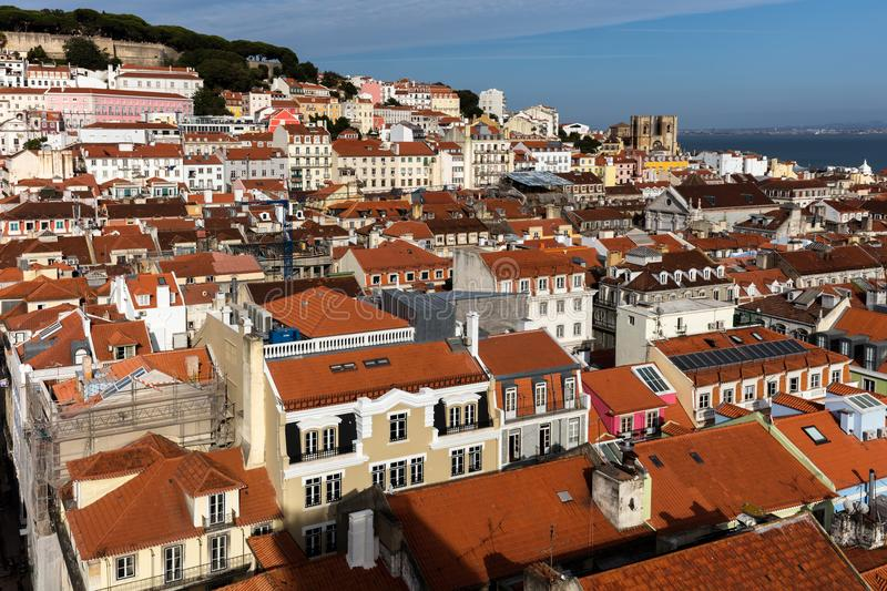 View of Lisbon, Portugal from the Santa Justa Lift. Towards the sea and the Lisbon Cathedral stock photos