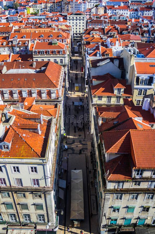View of Lisbon from the Santa Justa Elevator, Portugal stock photography
