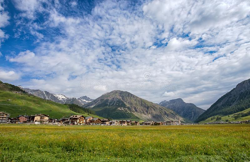 View of Livigno, an Italian town in the province of Sondrio in Lombardy and renowned winter and summer tourist resort in the Alps. Italy stock photo