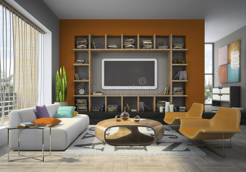 View on the living-room vector illustration