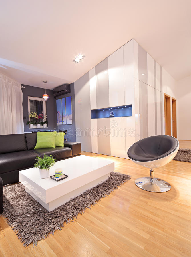 View of a living room in apartment stock images