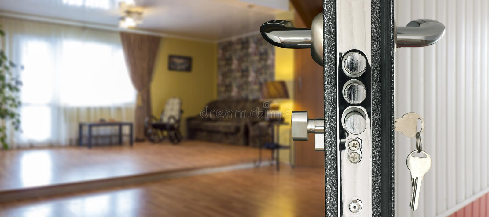 View living room through open door stock photo