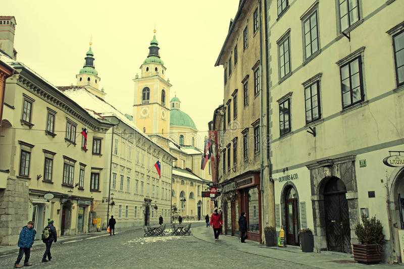 View of Ljubljana's historic city center royalty free stock photo