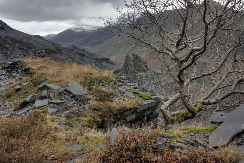 View from Llanberis. And the old slate mine of stock image