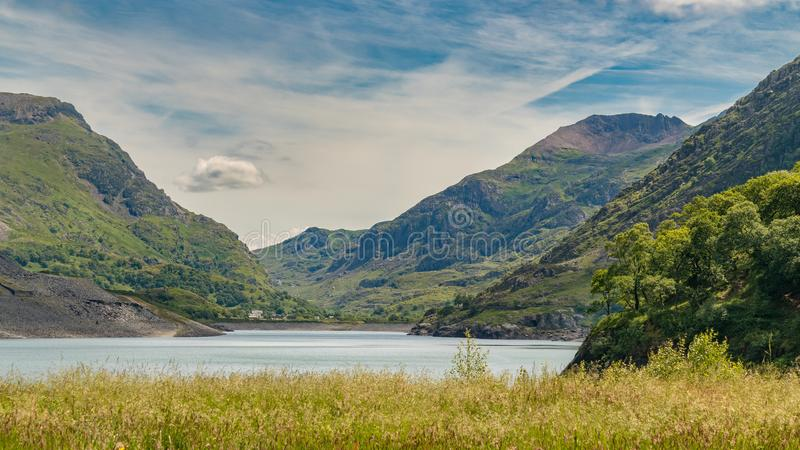 View from Llanberis, Wales, UK. View from Llanberis over Llyn Peris and Mount Snowdon, Snowdonia, Gwynedd, Wales, UK stock photography