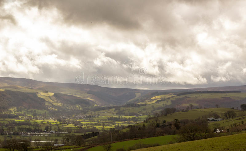 View of Llandrillo and the Berwyn mountains, North Wales, UK stock photography