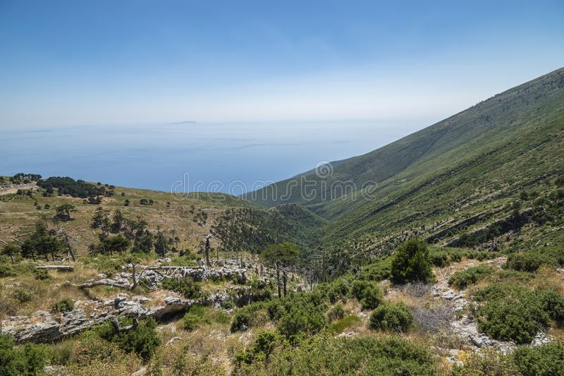 View of Llogara National Park. Vlore, Albania, holiday, spring, summer, landmark, coastline, albanian, water, slope, mount, hill, attraction, panorama royalty free stock photography
