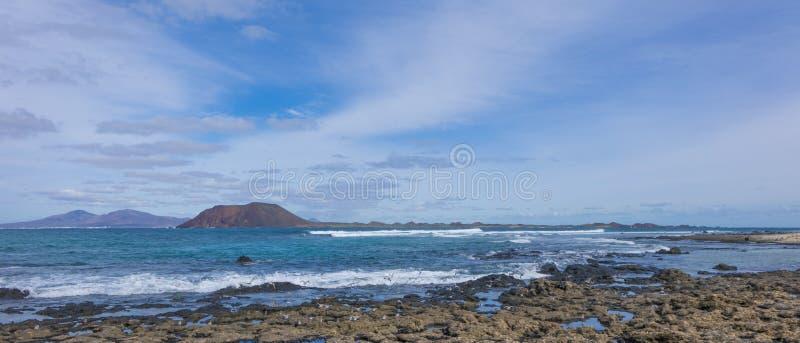 View of Lobos. From the beech Corralejo Fuerteventura Spain royalty free stock image
