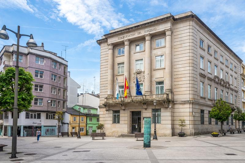 View at the local government building of Lugo in Spain. LUGO,SPAIN - MAY 15,2019 - View at the local government building of Lugo. Lugo is the only city in the royalty free stock photo