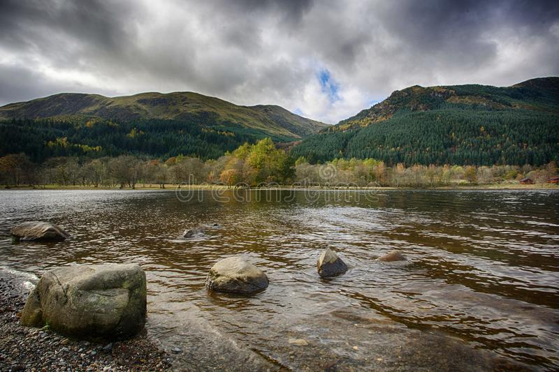 Loch Lubnaig. View of Loch Lubnaig in Perthshire, Scotland under a dramatic sky stock images