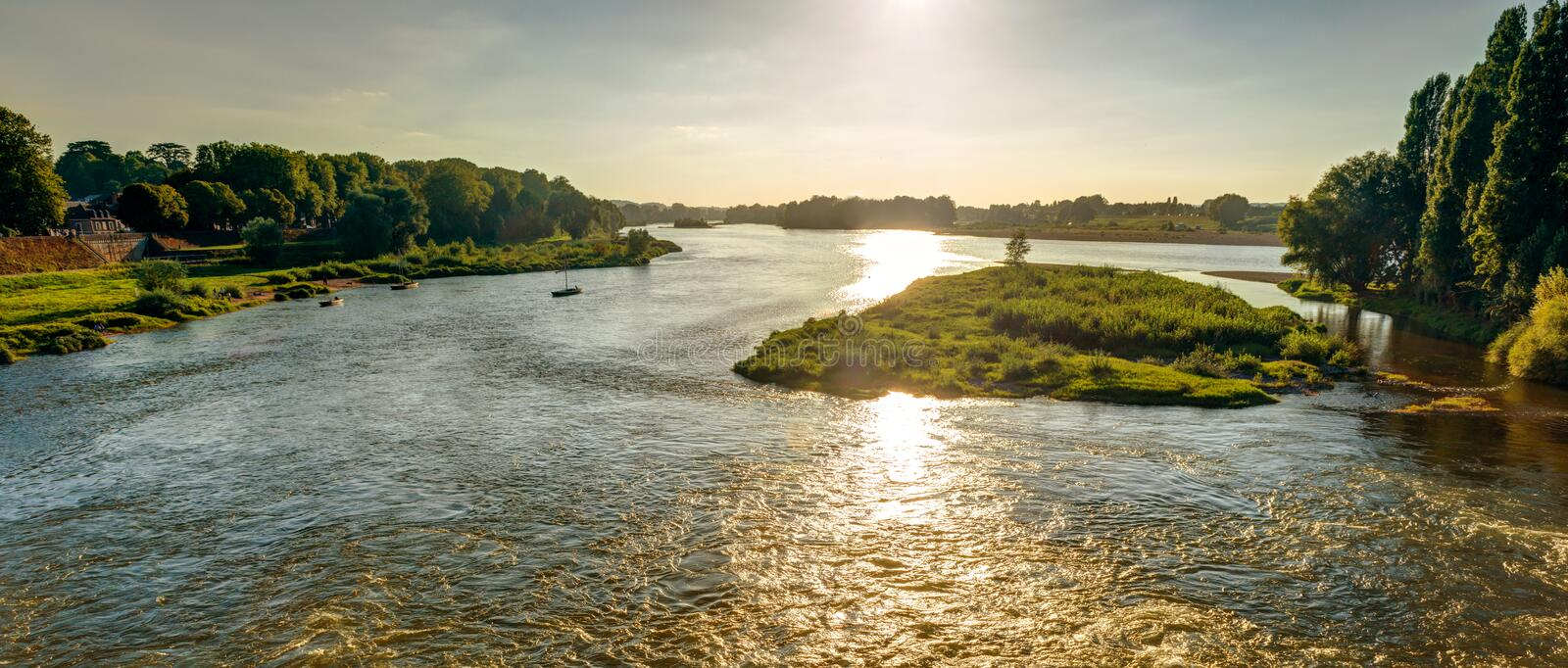 View of the Loire at sunset in Amboise, France royalty free stock photography