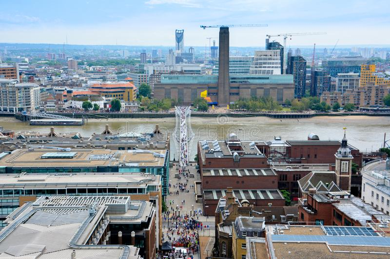 View of London from above. Millennium Bridge from St Paul`s Cathedral. royalty free stock photos