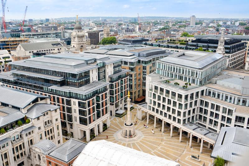 View of London from above. Paternoster Square seen from St Paul`s Cathedral. stock photography