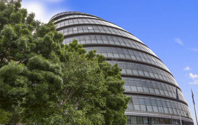 View of London City Hall. With tree in the foreground stock image