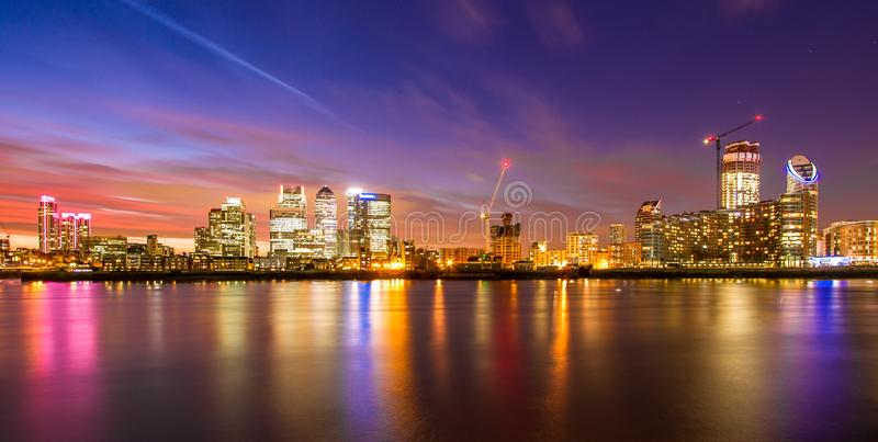 London Docklands at night royalty free stock images