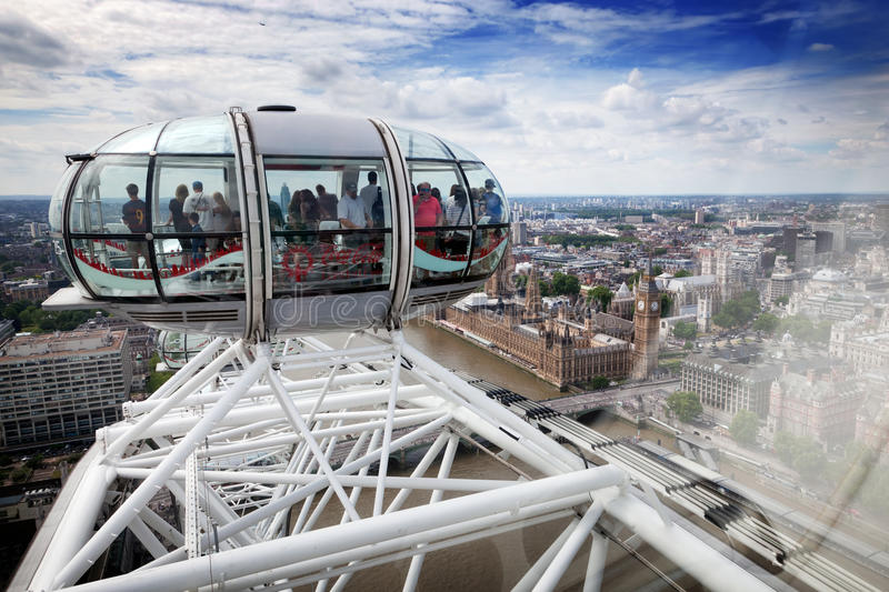 View from the London Eye capsule from its highest point. London, UK. royalty free stock photography
