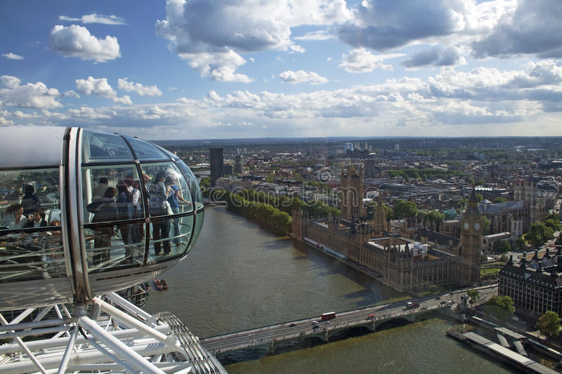 View from the London Eye, overlooking London, England stock images