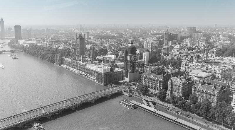 London, England, August 27th, 2019: view of London with Westminster Bridge, Palace of Westminster and Big Ben being renovated in royalty free stock images