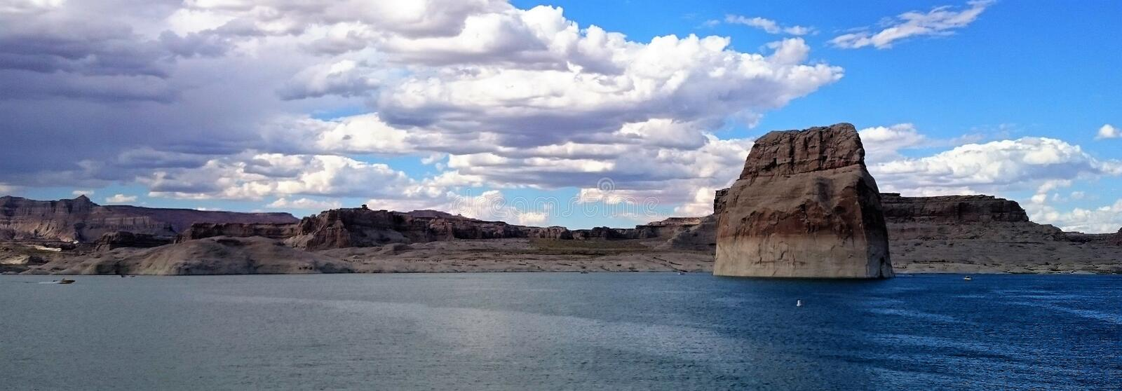 View from Lone Beach Lake Powell Utah. PLace to camp, swim and water ski stock image