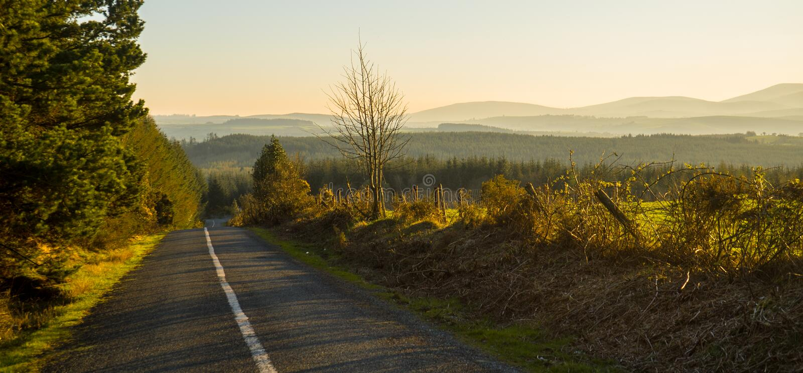 View From a Lonely Irish Countryside Road at Sunset in Waterford, Ireland royalty free stock photography