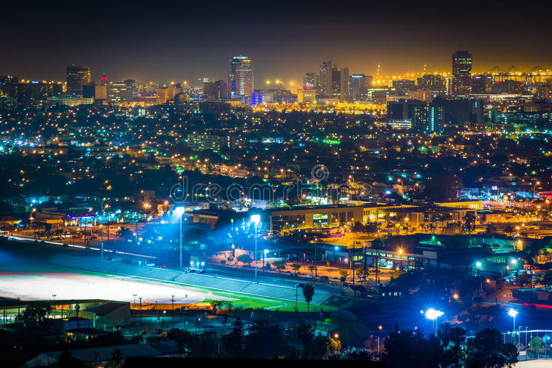 Download View Of The Long Beach Skyline At Night Stock Photo