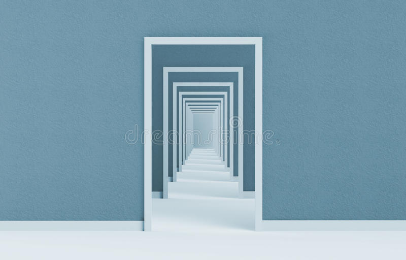 View of the long open door sequence 3d illustration on blue stock illustration