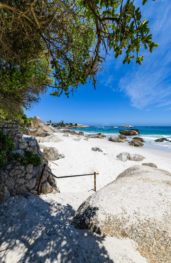 A view looking down on the beautiful white sand beaches of clifton in the cape town area of south africa.8 stock photo