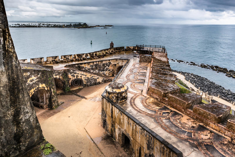 View looking down of Castillo San Felipe del Morro corner. With Caribbean sea in the background royalty free stock photos