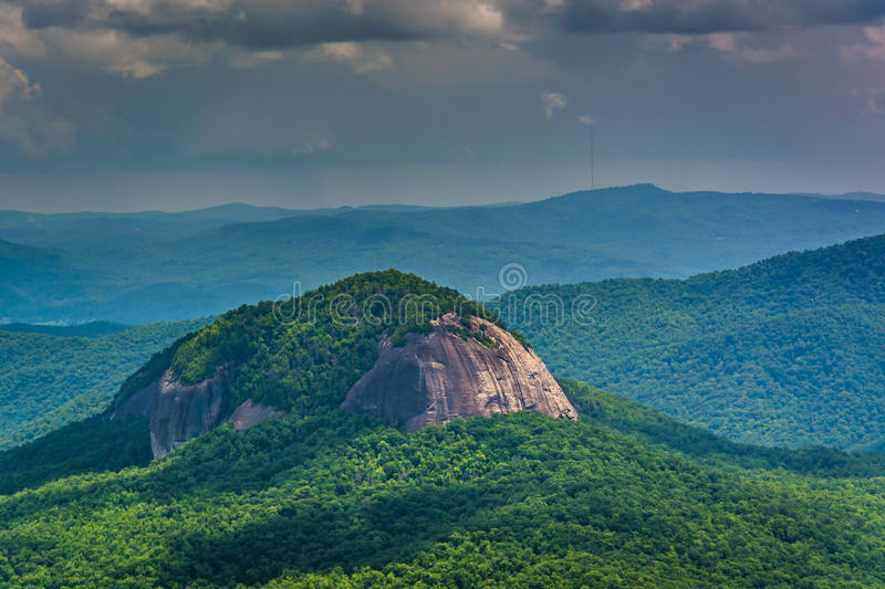 View of Looking Glass Rock from the Blue Ridge Parkway in North royalty free stock photo