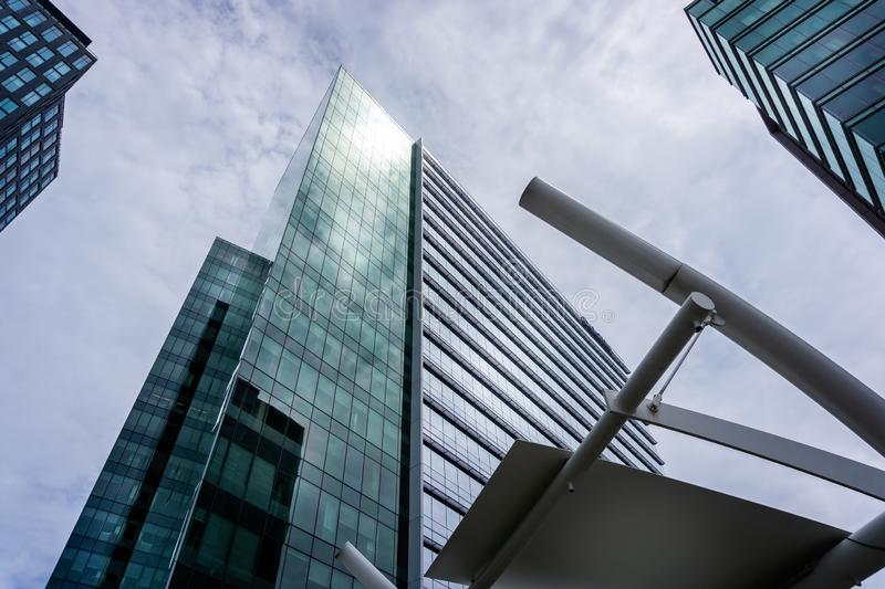 View looking up at high rise buildings surrounding Tysons Corner in Washington DC, USA. On 11 May 2019 royalty free stock images
