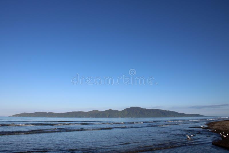 From Raumati Beach to Kapiti Island, New Zealand. stock image