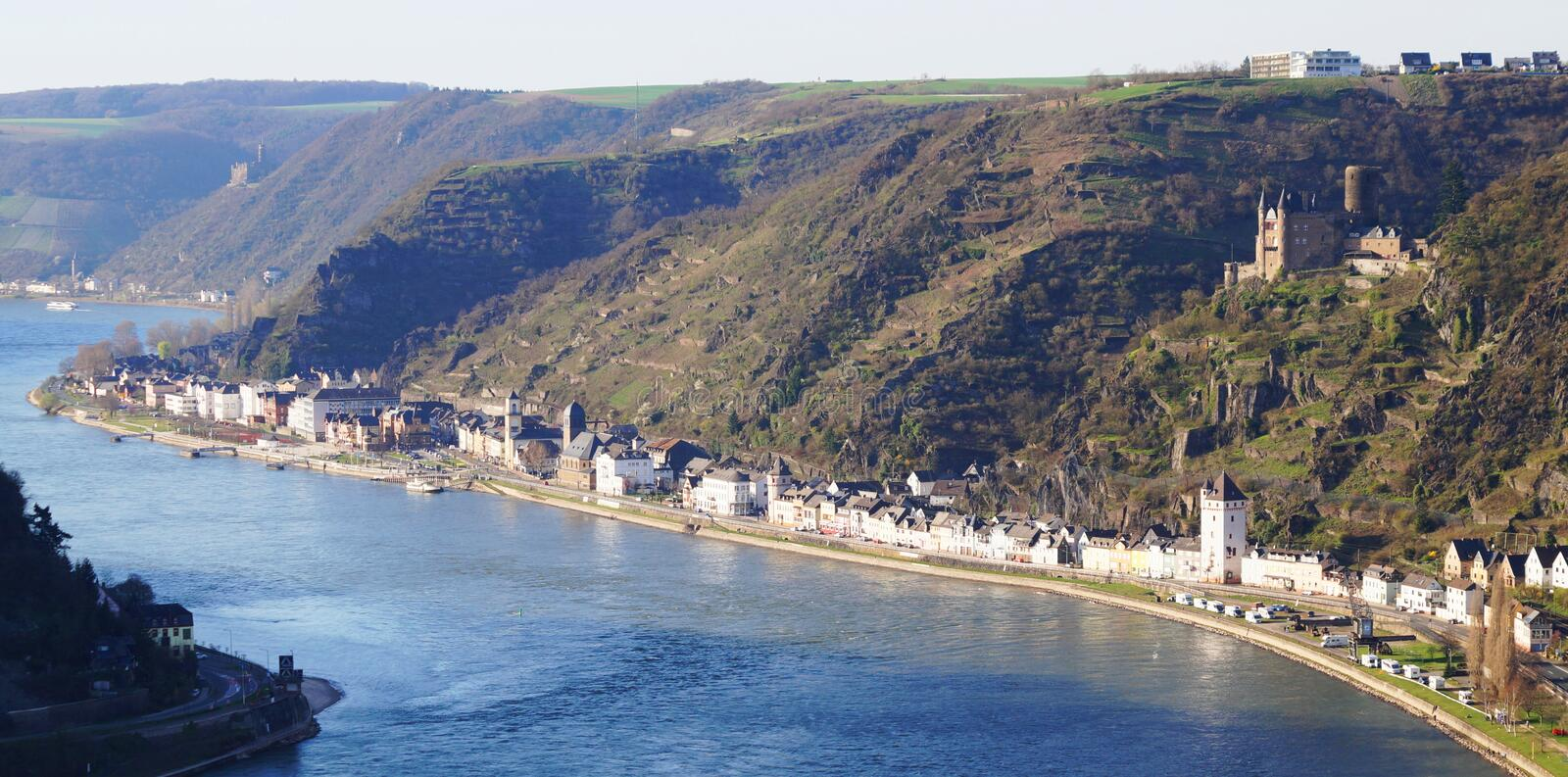 View from Loreley on the Rhine river and the city Sankt Goarshausen in Germany royalty free stock image
