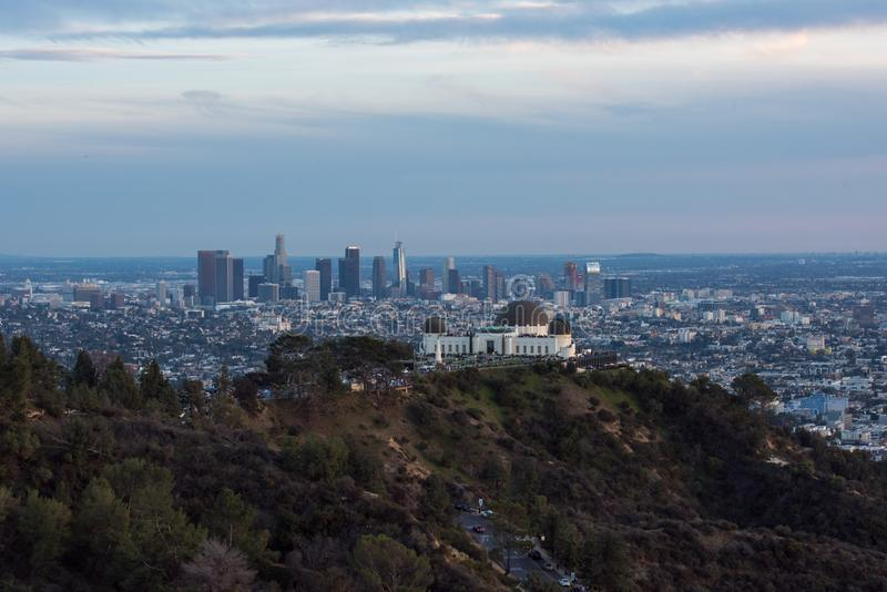 A view of the Los Angeles Skyline, from behind Griffith Observatory royalty free stock photography