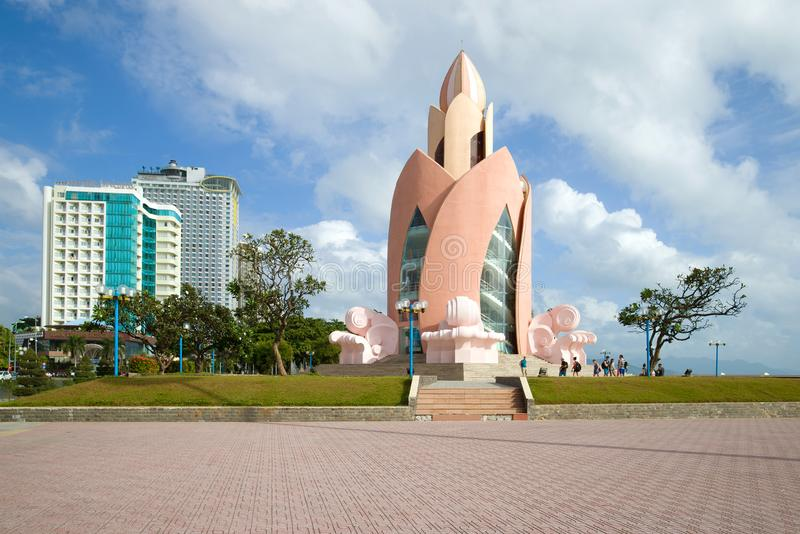View of the Lotus Tower on the central square of the resort town of Nha Trang royalty free stock photo