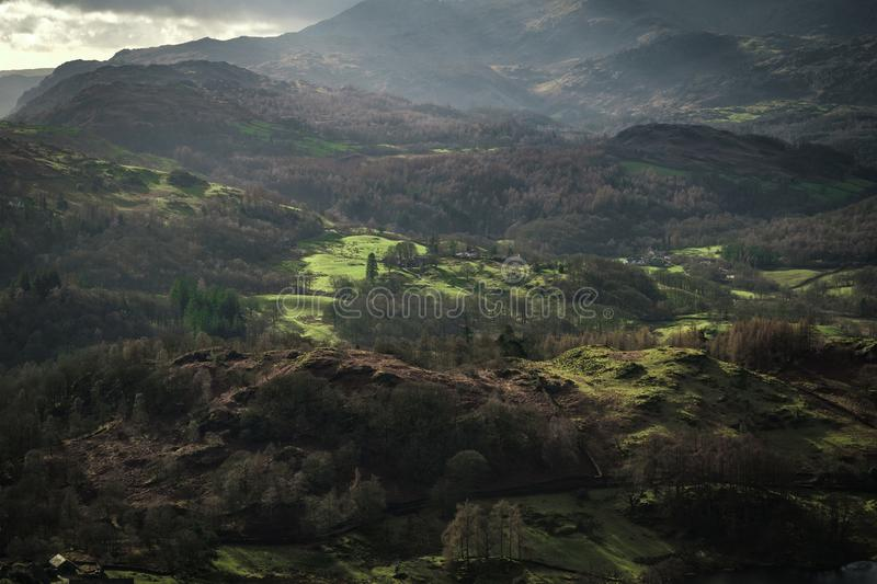 View from Loughrigg Fell. In the English Lake District stock photography