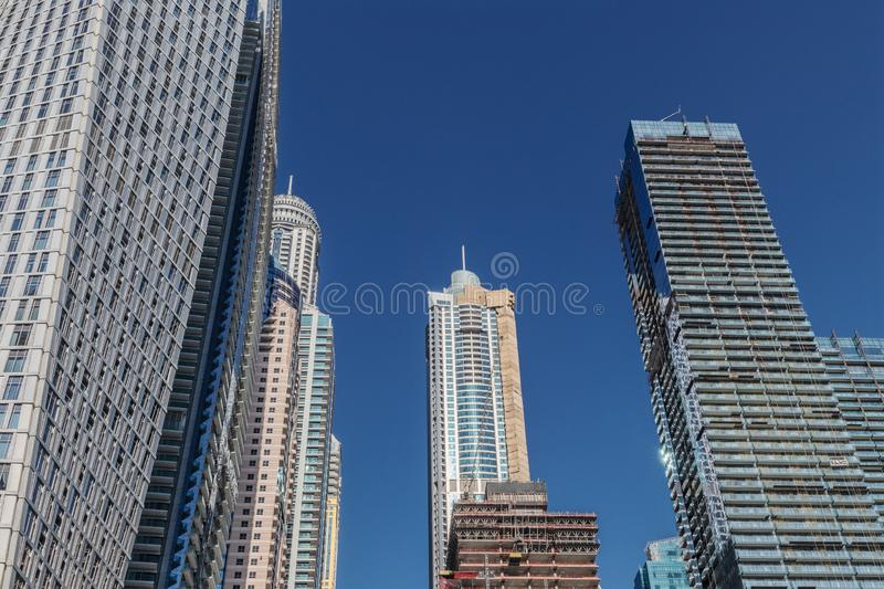 View of low rise skyscrapers with blue sky in Dubai. UAE.  stock photography