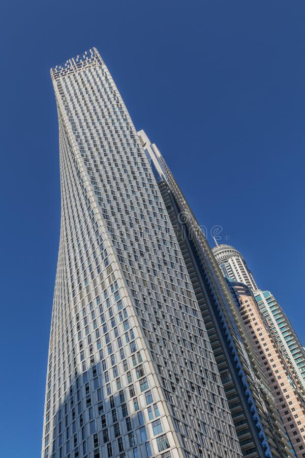View of low rise skyscrapers with blue sky in Dubai. UAE.  stock photos
