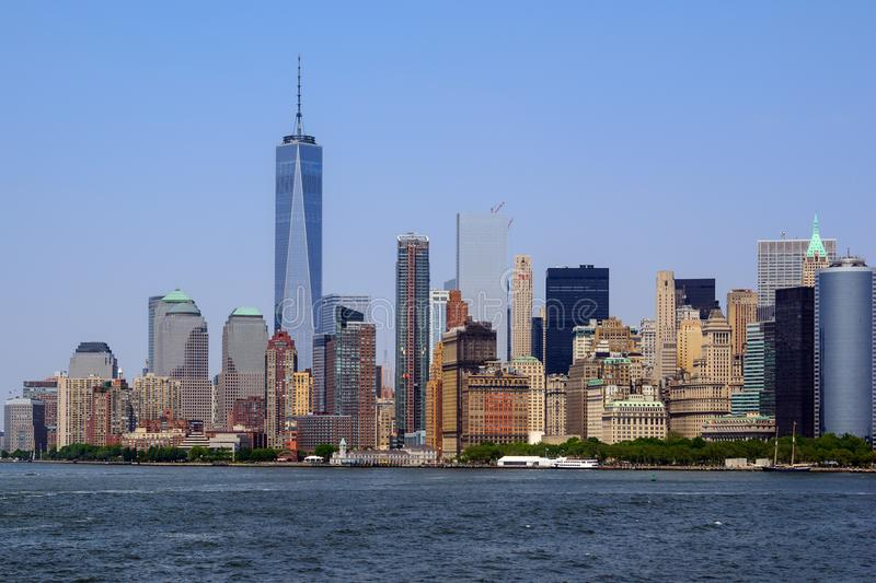 View of Lower Manhattan and Freedom tower from Staten Island Ferry boat, New York City. View of Lower Manhattan and Freedom tower from Staten Island Ferry boat stock images