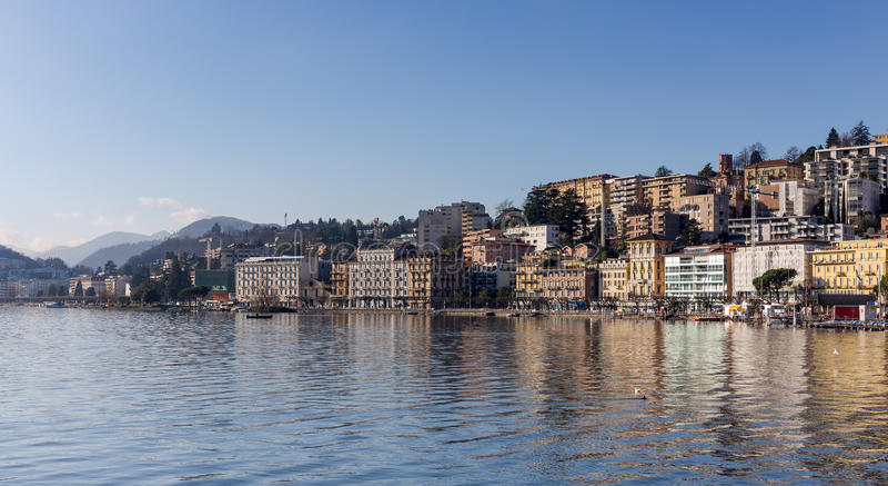 View of Lugano city, Switzerland stock photos