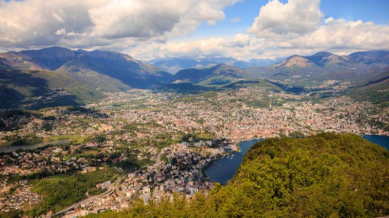 View of Lugano and Monte Bre from San Salvatore mountain, Lugano, Ticino, Switzerland stock images