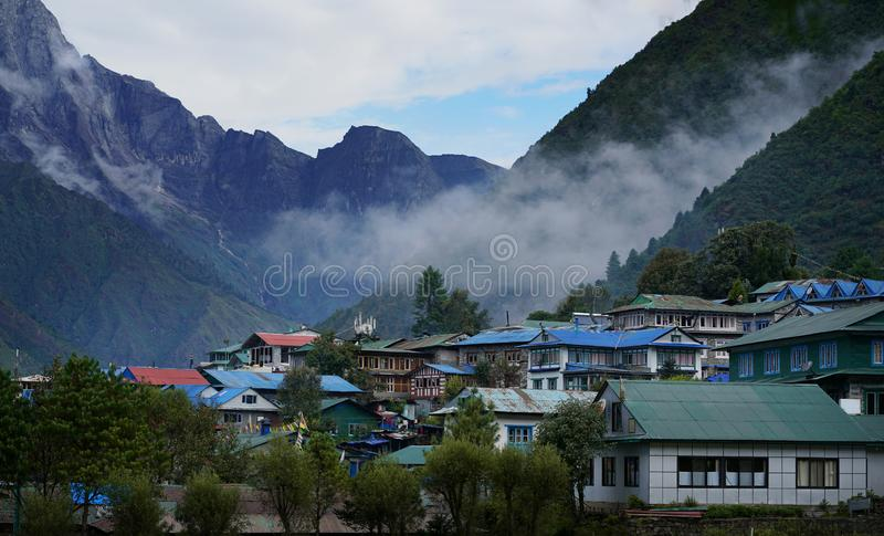 View of Lukla Town from Tenzing–Hillary Airport, Nepal stock photography
