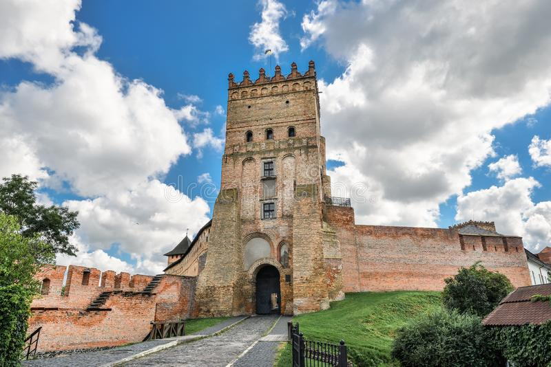 View on Lutsk High Castle, also known as Lubart Castle towering over the Styr River, Ukraine royalty free stock images