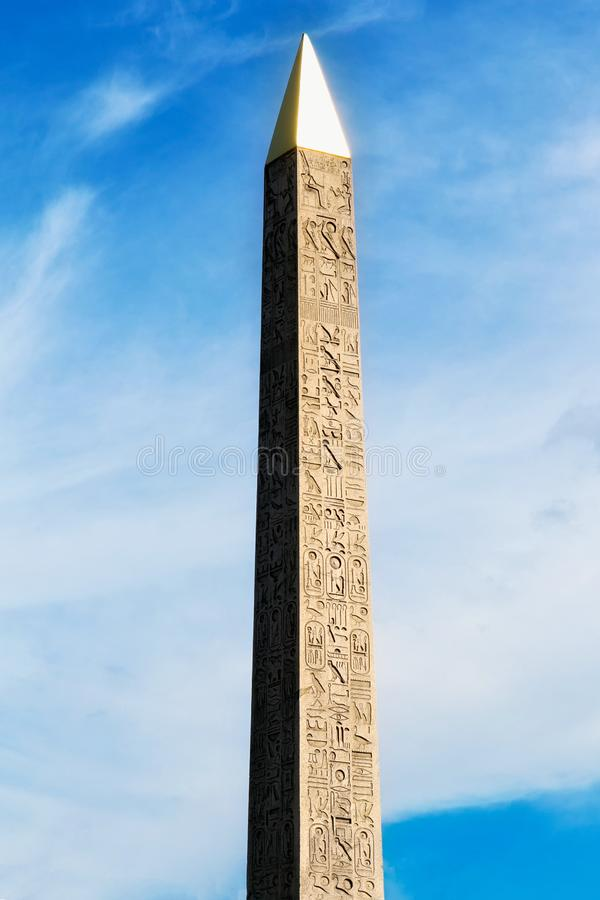 View of the Luxor Ancient Egyptian Obelisk stock image