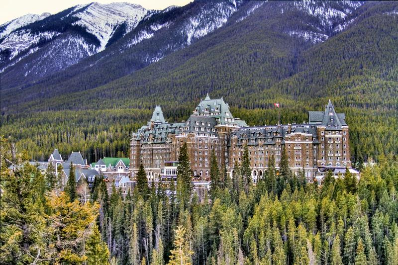 View of luxurious Banff Fairmont Springs Hotel, an historic landmark in Banff National Park, Alberta, Canada. View of the luxurious Banff Fairmont Springs Hotel stock image