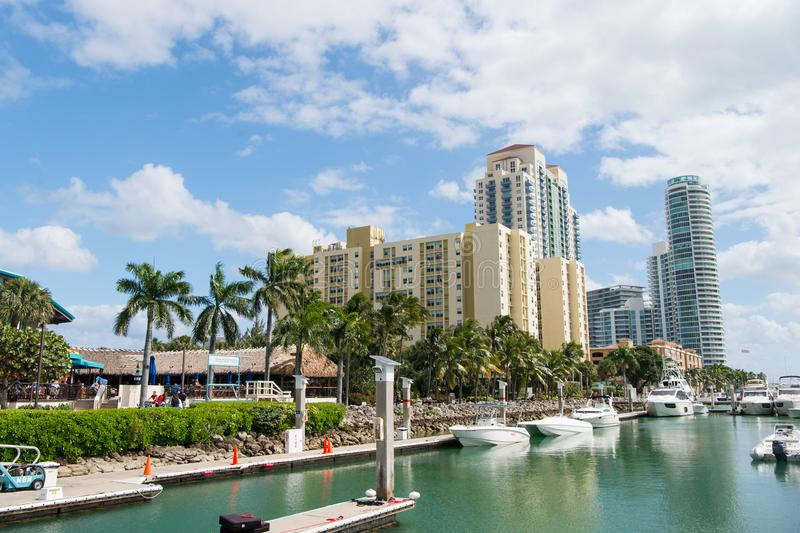 View of luxurious boats and yacht docked in a Miami South Beach Marina luxury life concept stock photos