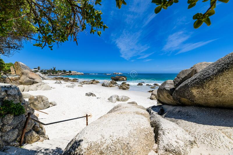 A view looking down on the beautiful white sand beaches of clifton in the cape town area of south africa.9 royalty free stock photography