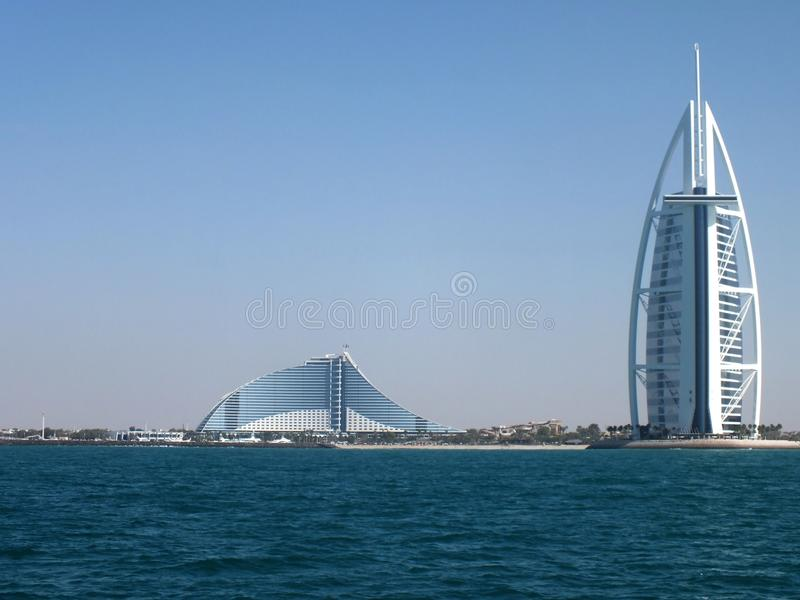 View of the luxury hotel Burj Al Arab and Jumeirah Beach Hotel stock image