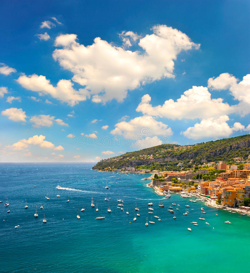 View of luxury resort and bay of Cote d'Azur royalty free stock images